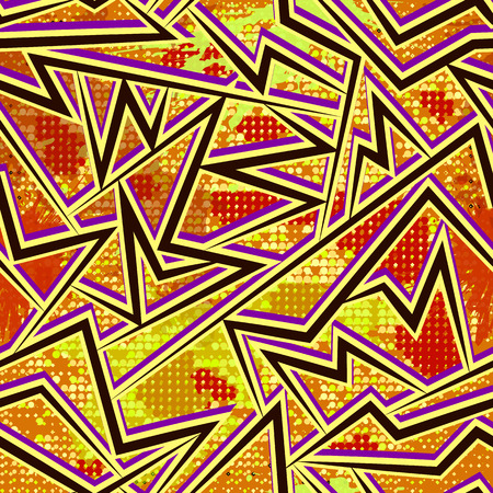 half tone: Graffiti style seamless pattern with grunge effect. Abstract vector wallpaper in urban style. Bright colored background with cracks, splashes and half tone elements.