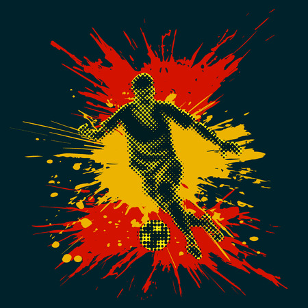 half tone: Isolated figure of a soccer player with half tone effect. Bright splashes composing Spanish flag.