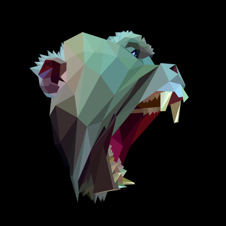 macaque: Symmetrical vector icon of macaque with open jaws. Made in low poly triangular style.