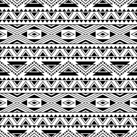 Black and white seamless pattern with tribal aztec motives. Boho chic style abstract wallpaper. Ethnic stylized print template for fabric and paper.