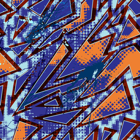 half tone: Abstract seamless pattern in urban style. Bright colored vector background with graffiti motives. Geometrical wallpaper with grunge effect. Half tone, cracks, splash.