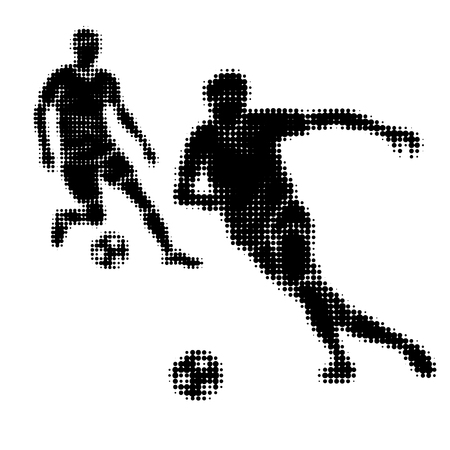 half tone: Football players silhouettes with ball. Vector illustration. Isolated in white. Half tone effect.