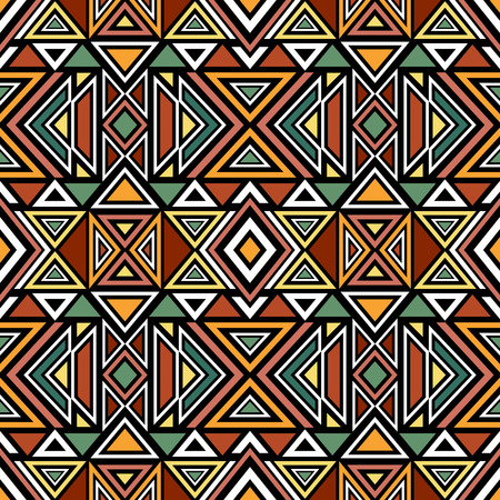 Abstract seamless pattern with ethnic aztec ornament. Boho design. Aztec pattern. Folk stylized print template for paper and fabric. Summer fashion.