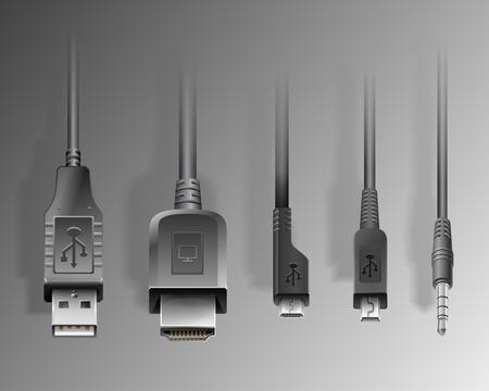 minijack: Photorealistic vector illustration of electronical device cables, HDMI, USB, mini-jack 3,5, micro-usb, mini-usb . Generic design devices image.
