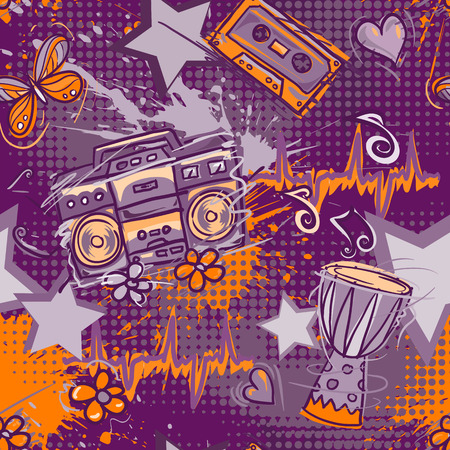 half tone: Bright colored seamless pattern in hippie style. Abstract background with notes, music tape, retro boom box, drum, hearts, flowers and butterflies . Funny vector wallpaper with half tone effect. Illustration