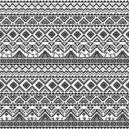 folklore: Boho seamless pattern with aztec ornament. Abstract vector background with folklore motives. Aztec print template for fabric and paper. Summer fashion. Black and white.