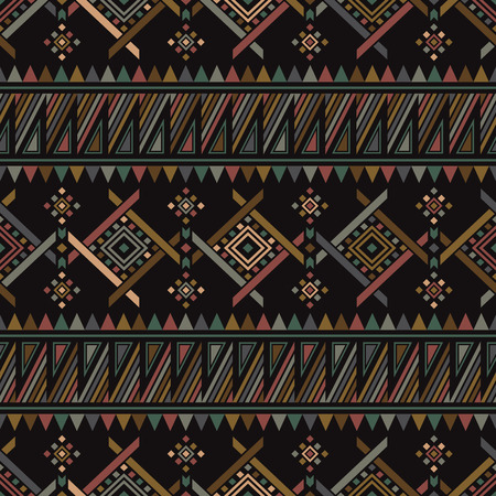folklore: Boho seamless pattern with aztec ornament. Abstract vector background with folklore motives. Aztec print template for textile and paper. Summer fashion. Illustration