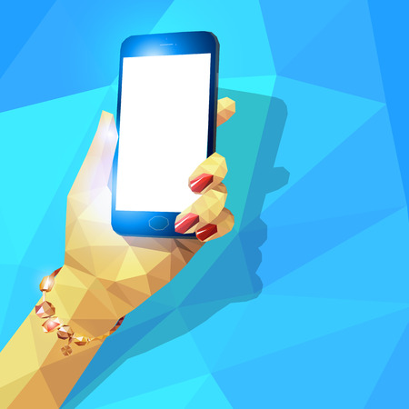 Vector illustration of female hand holding generic design smart phone. Low poly triangular style.