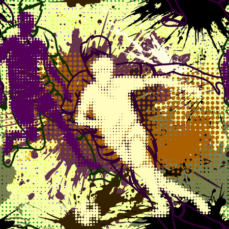 half tone: Graffiti style seamless pattern with grunge effect. Abstract vector wallpaper in urban style. Bright colored graffiti background with splashes and half tone elements.Football player. Soccer player in  graffiti style .