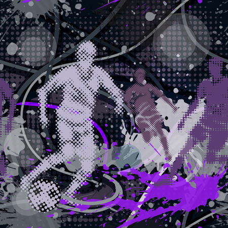 urban style: Seamless pattern in urban style. Bright colored abstract background with graffiti motives. Vector wallpaper with soccer player kicking a ball.
