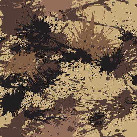 Seamless pattern with various ink spots. Abstract vector background in grunge style. Coffee colored wallpaper.