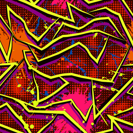 half tone: Graffiti stylized seamless pattern with cracks, splashes and half tone effect. Bright colored vector wallpaper in urban style. Abstract grunge background. Illustration