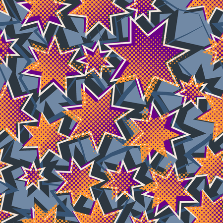 half tone: Bright colored seamless pattern with the stars and half tone effect. Graffiti style abstract background. Grunge vector wallpaper. Illustration