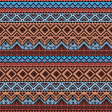 folklore: Boho seamless pattern with tribal aztec ornament. Abstract vector background with folklore motives. Aztec print template for textile and paper. Summer fashion.