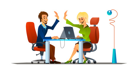 high five: Vector illustration of teamwork in the office. Smiling  male and female colleagues giving  high five to each other.