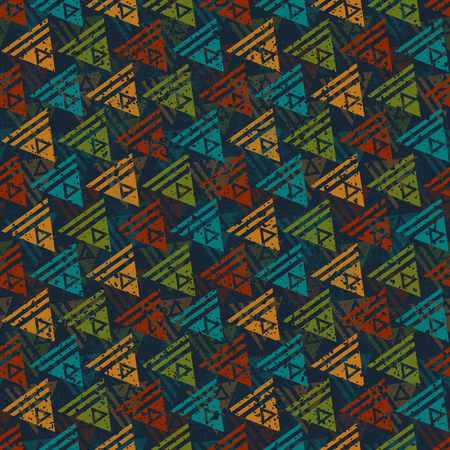 urban style: Vector seamless pattern in urban style. Retro stylized abstract wallpaper with grunge effect and geometrical ornament. Illustration