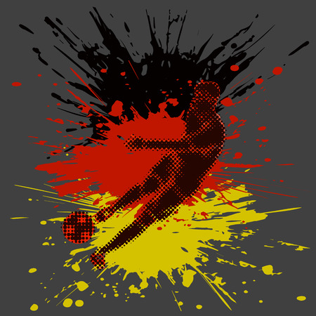 half tone: Isolated figure of a soccer player with half tone effect and paint splashes. Illustration