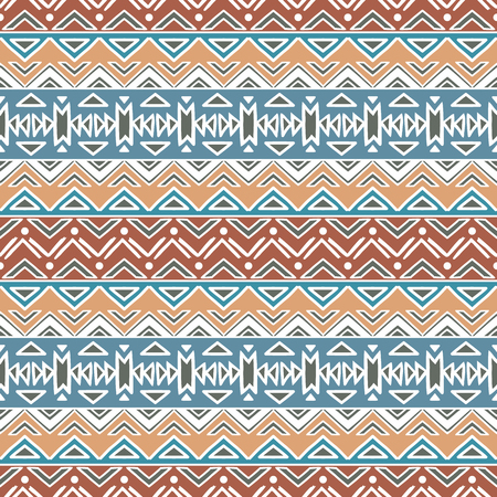 mexican folklore: Hand drawn seamless pattern with tribal aztec motives.