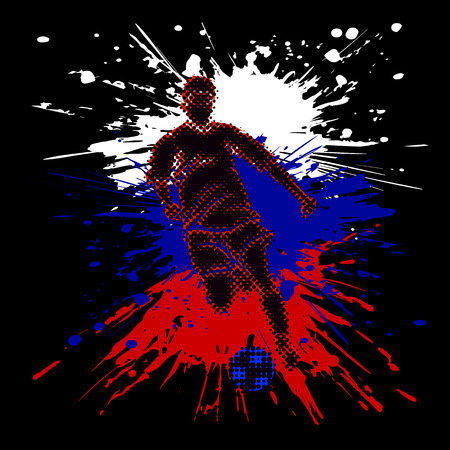 Isolated figure of a soccer player with half tone effect. Bright splashes composing Russian flag.