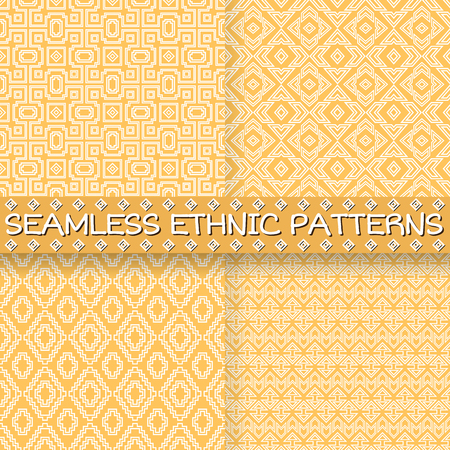 pastel colored: Set of seamless patterns in ethnic style. Pastel colored abstract backgrounds with tribal aztec motives. Summer fashion. Boho design.
