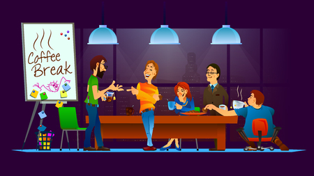break in: Vector illustration of coffee break in the office. Friendly conversation. Smiling colleagues. Funny moments.