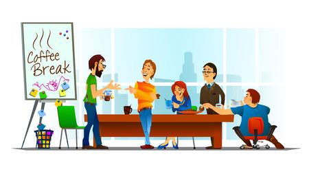amigas conversando: Ilustración vectorial de café en la oficina. conversación amistosa. Sonriendo colegas. Momentos divertidos.