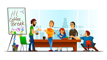 Vector illustration of coffee break in the office. Friendly conversation. Smiling colleagues. Funny moments.