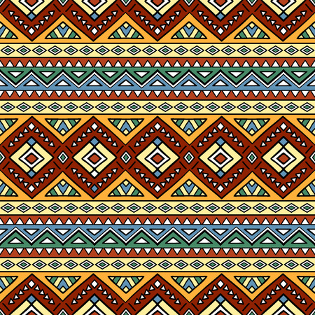 Bright colored seamless pattern in boho chic style. Hand drawn abstract background with aztec motives. Ethnic print template for fabric and paper. Summer fashion. Illustration