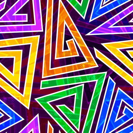 Bright colored seamless pattern in urban style. Graffiti stylized abstract wallaper with grunge effect and geometrical ornament.