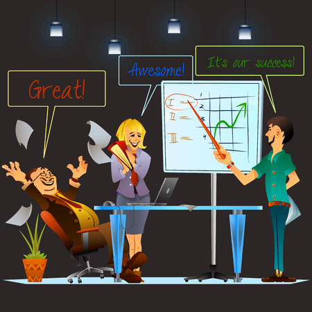 colleagues: Presentation of high rating position of the company. Office teamwork vector illustration. Cheerful colleagues. Illustration