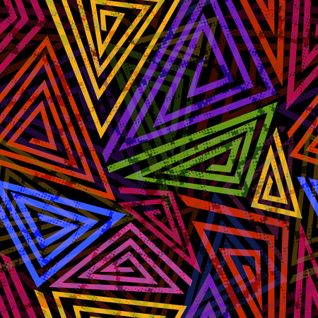 urban style: Bright colored seamless pattern in urban style. Graffiti stylized abstract wallaper with grunge effect and geometrical ornament.
