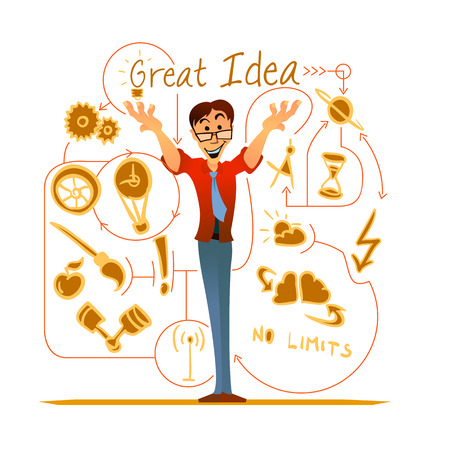 Vector illustration of a smilng office worker sharing his ideas with colleagues.
