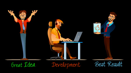 work places: Three office workers on their work places. Illustration