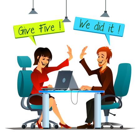 """Vector illustratie van teamwork op kantoor. Lachend mannelijke en vrouwelijke collega's het geven van """"high five"""" met elkaar."""
