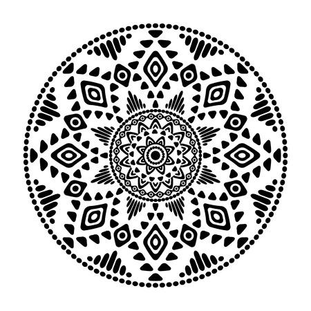 Black and white mandala print template.