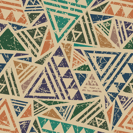 Bright colored seamless pattern in boho style. Aztec stylized abstract wallpaper with grunge effect and geometrical ornament. Ilustração