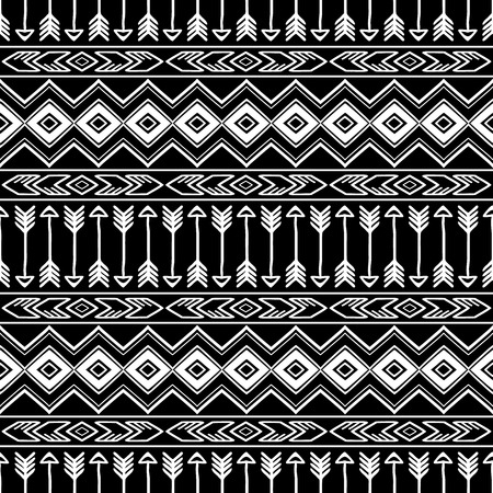 Hand drawn seamless pattern with tribal aztec ornament. Ethnic stylized print template for fabric and paper. Black and white. Summer fashion. Boho chic design.