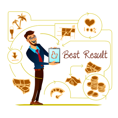 colleagues: Vector illustration of a smilng office worker showing project results to colleagues.