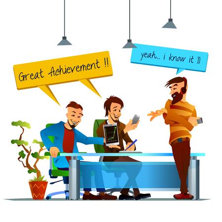 amigas conversando: Ilustración del vector de trabajo en equipo en la oficina. conversación amistosa. Sonriendo colegas. momentos divertidos en la vida de oficina.