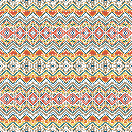 latin americans: Hand drawn seamless pattern with tribal aztec motives.