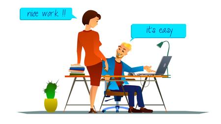 amigas conversando: Ilustración del vector de trabajo en equipo en la oficina. conversación amistosa. Sonriendo colegas.