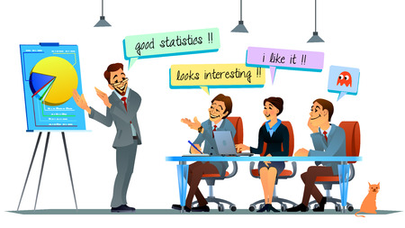 life partners: Presentation of company statistics to foreign partners delegation. Vector illustration of office life.