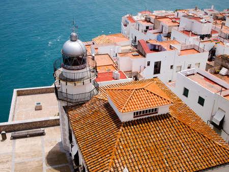 Peniscola city, lighthouse, Costa del Azahar 版權商用圖片