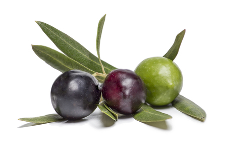 isolated three colorful olives, in three different colors 版權商用圖片