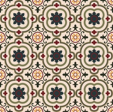 Vintage seamless colorful floral tiles pattern