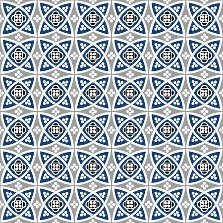 Blue seamless geometrical patterns, vintage textures.