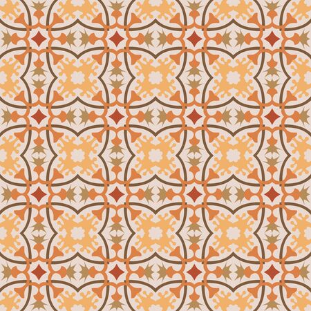 Colorful yellow, orange, and green geometric seamless background pattern