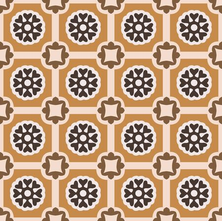 Geometric yellow and black floral seamless background pattern