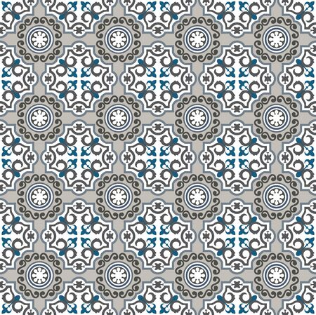 Blue and grey beautiful ornamental tiles pattern