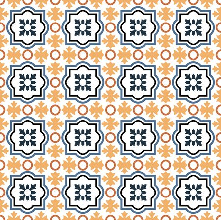 Colorful blue, yellow and orange seamless arabesque tiles pattern
